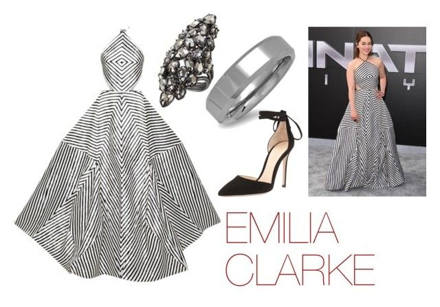 """FAVORITE - Emilia Clarke"" by carolinelaufeyson ❤ liked on Polyvore featuring Rosie Assoulin, Alexis Bittar, Oxford Ivy and Gianvito Rossi"