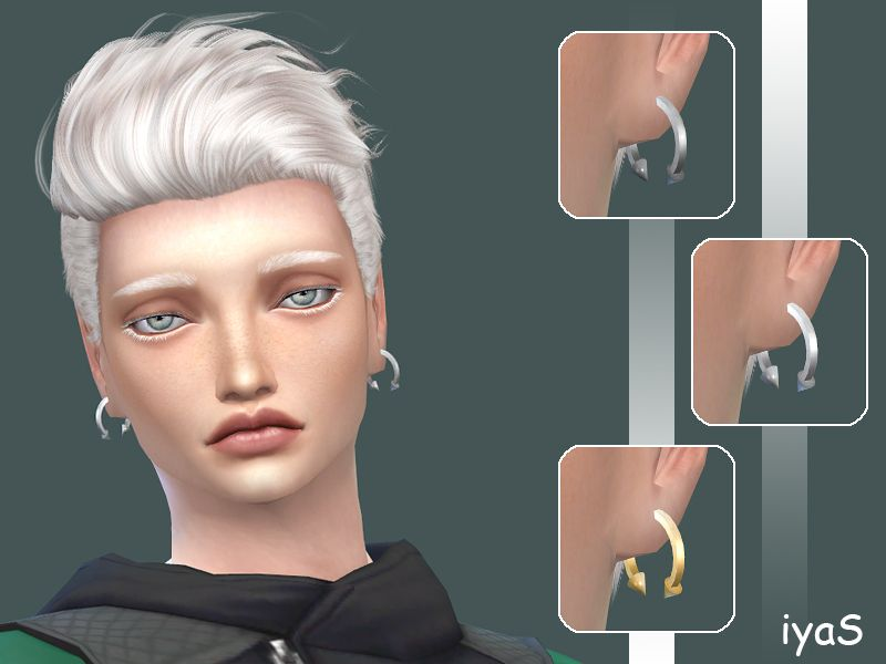 Popular design hoop earrings for men, decorated with edgy spikes. Disabled for random. 3 variants. Found in TSR Category 'Sims 4 Male Earrings'