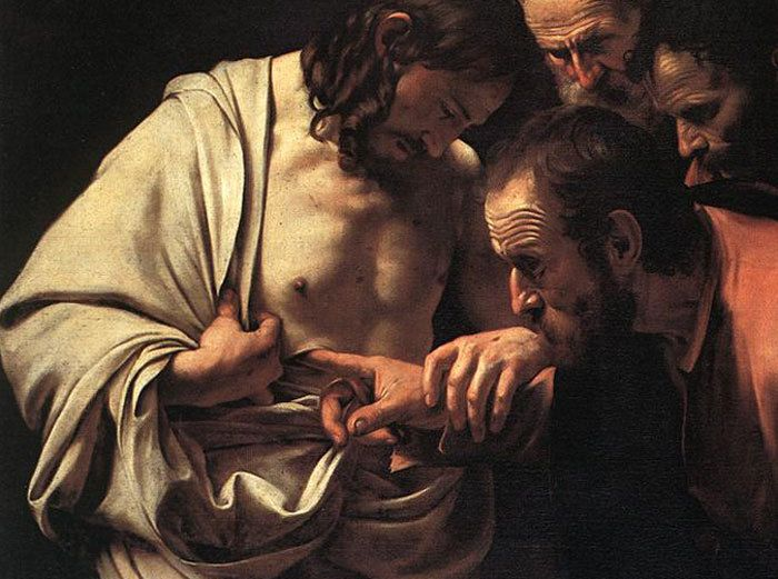 Image result for Thomas examines Jesus wound