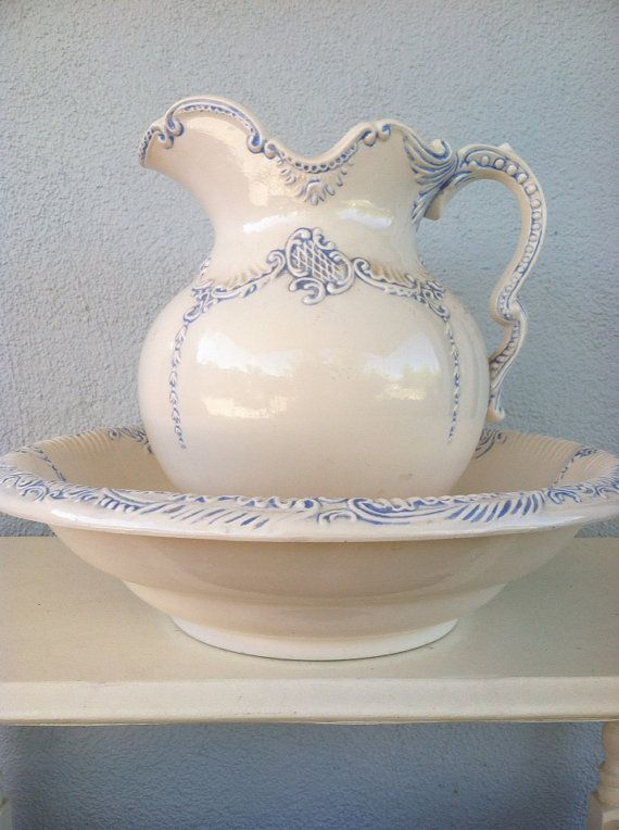 Large Wash Basin and Pitcher Set White with Blue Design by CottageAndSprout $25.00