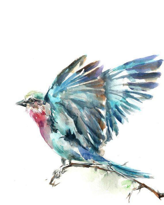 Lilac Bird Watercolor Painting Art Print Bird Painting Art Wall