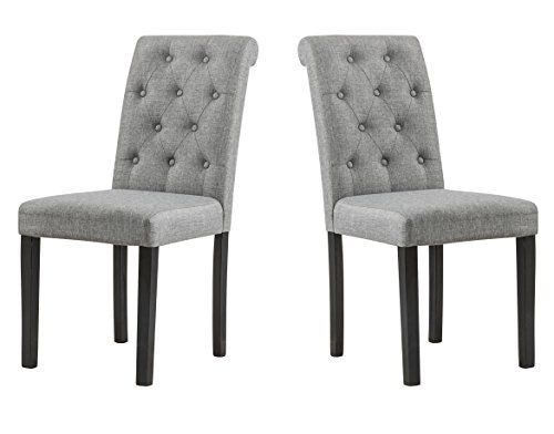 YEEFY Habit Solid Wood Tufted Parsons Dining Chair Set Of 2 Gray Continue
