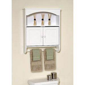 White Wood Wall Cabinet With Open Storage And Towel Bar Walmart
