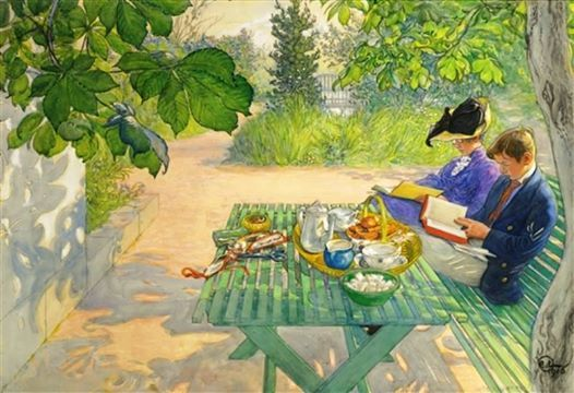 """colin-vian: """" Carl Larsson - Holiday Reading, 1916. Watercolour and gouache over pencil on paper laid on canvas, 27.36 X 39.17 in. (69.5 X 99.5 cm). Private Collection """""""