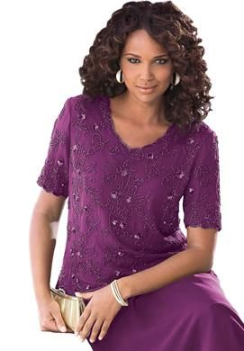 6a2893600085 Beaded Silk Top | Plus Size Wedding Party | Roamans | grandmother of ...
