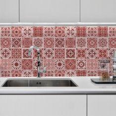 kit adesivos de azulejos rosa abstrato - Azulejos Rosa