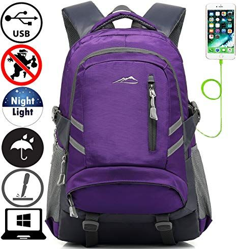 8af4be61f2b2 Backpack Bookbag For School College Student Travel Business With USB  Charging Port Water Resistant Fit Laptop Up to 15.6 Inch Anti theft Night  Light ...