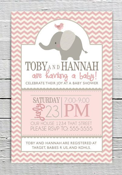Coupon code repin10 for 10 off custom baby pink shower invitation coupon code repin10 for 10 off custom baby pink shower invitation printable baby girl shower with elephant chevron baby shower supplies 1099 filmwisefo