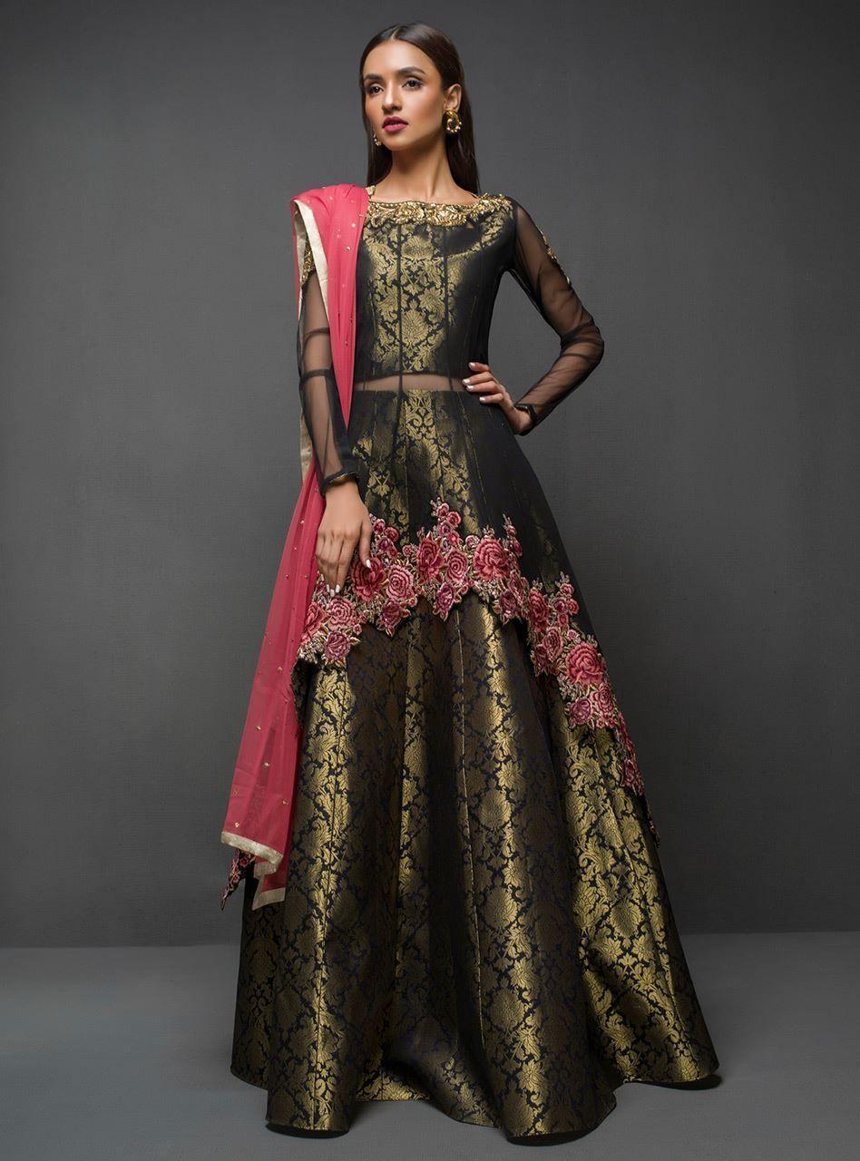 Black peplum Shadi dresses, Pakistani wedding outfits