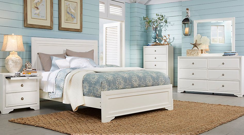 Belcourt White 5 Pc Queen Panel Bedroom from  Furniture