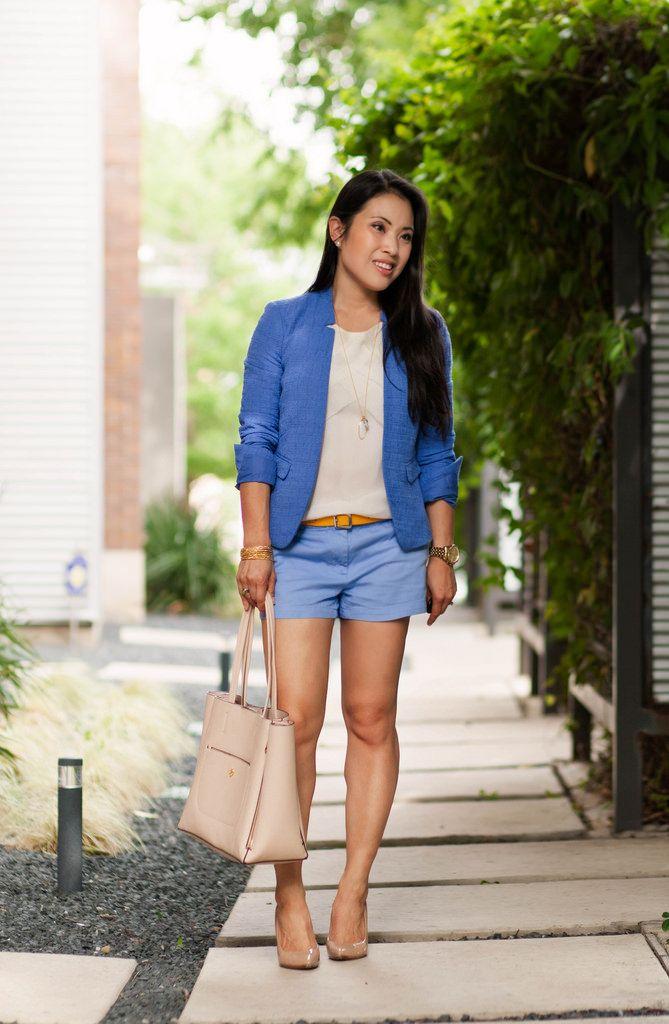 cute & little blog | petite fashion | light blue shorts suit, loft ...