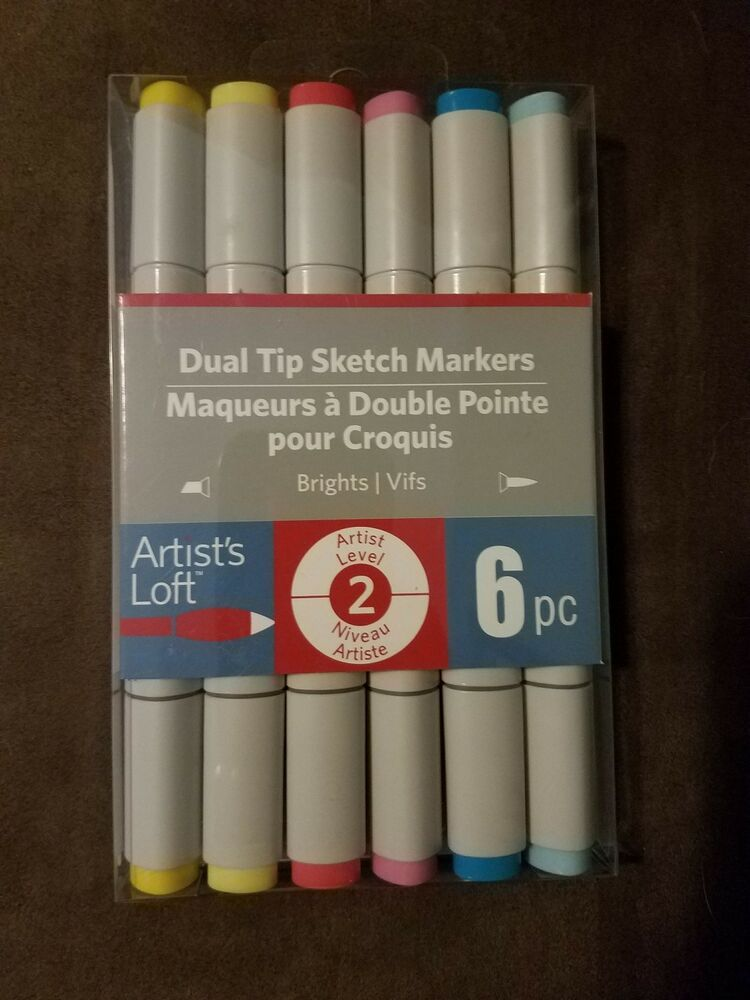 Artist S Loft Dual Tip Sketch Markers Brights 6pc Set 516316 New