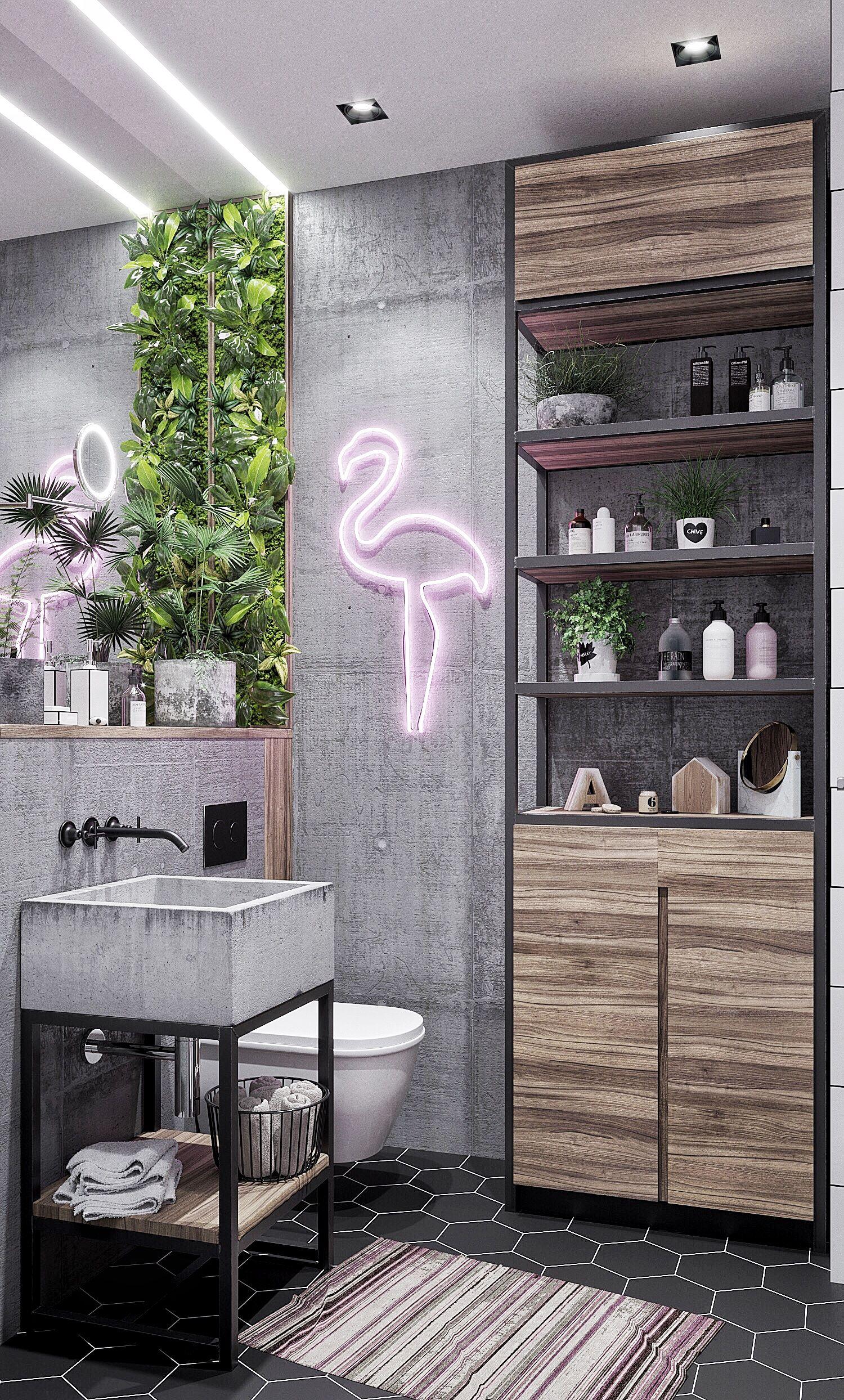 Modernes Badezimmer Mit Betonwänden, Betonwaschbecken Und Pelikan Leuchte,  Kleines Bad, Ideen Badezimmer,