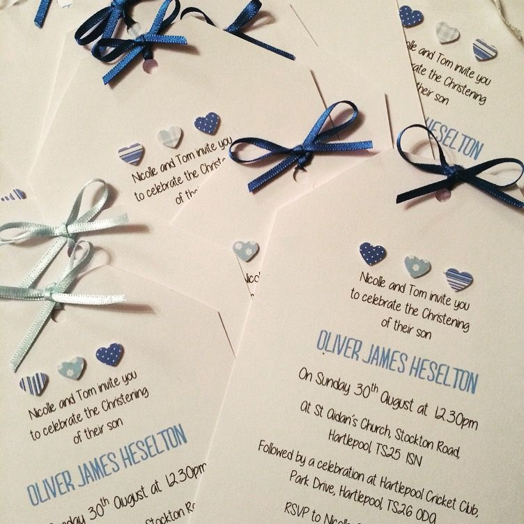 Handmade christening invites baby boy blue hearts jessica handmade christening invites baby boy blue hearts jessica bradley instagram solutioingenieria Image collections