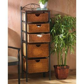 Storage Unit With A Black Steel Frame And 5 Wicker Baskets Product Storage Unitconstructi Drawer Storage Unit Wicker Baskets Storage Nebraska Furniture Mart