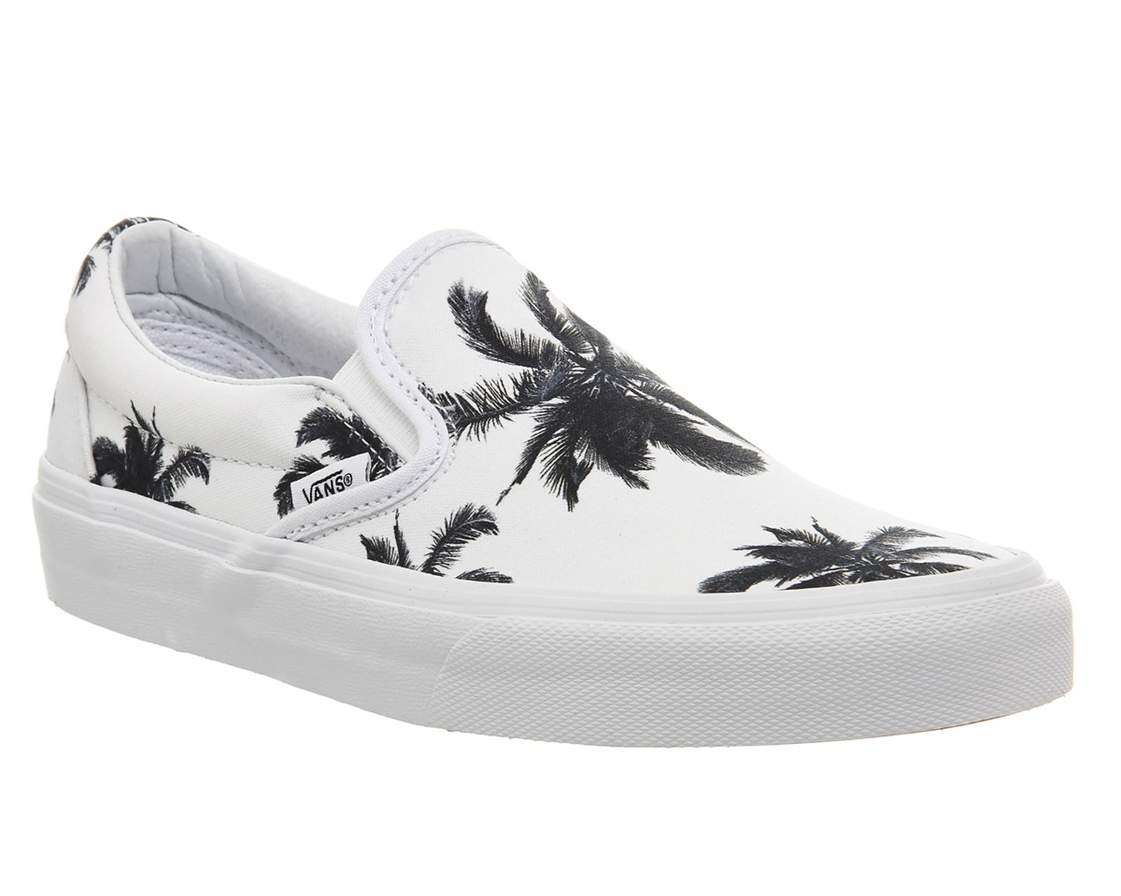 b8830fb295 Buy Palm Print White Vans Classic Slip On Shoes from OFFICE.co.uk ...