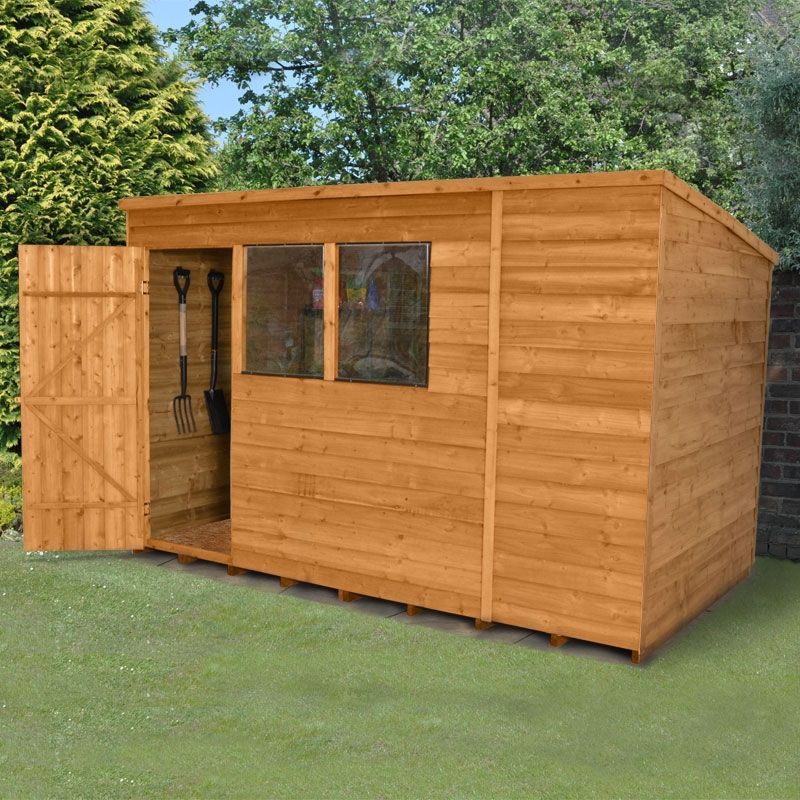 10 X6 3x1 8m Shed Plus Overlap Pent Treated Shed Wooden Sheds Building A Shed Cheap Garden Sheds