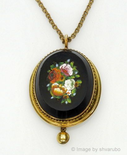 Antique victorian italian micro mosaic gold filled pendant necklace antique victorian italian micro mosaic gold filled pendant necklace aloadofball