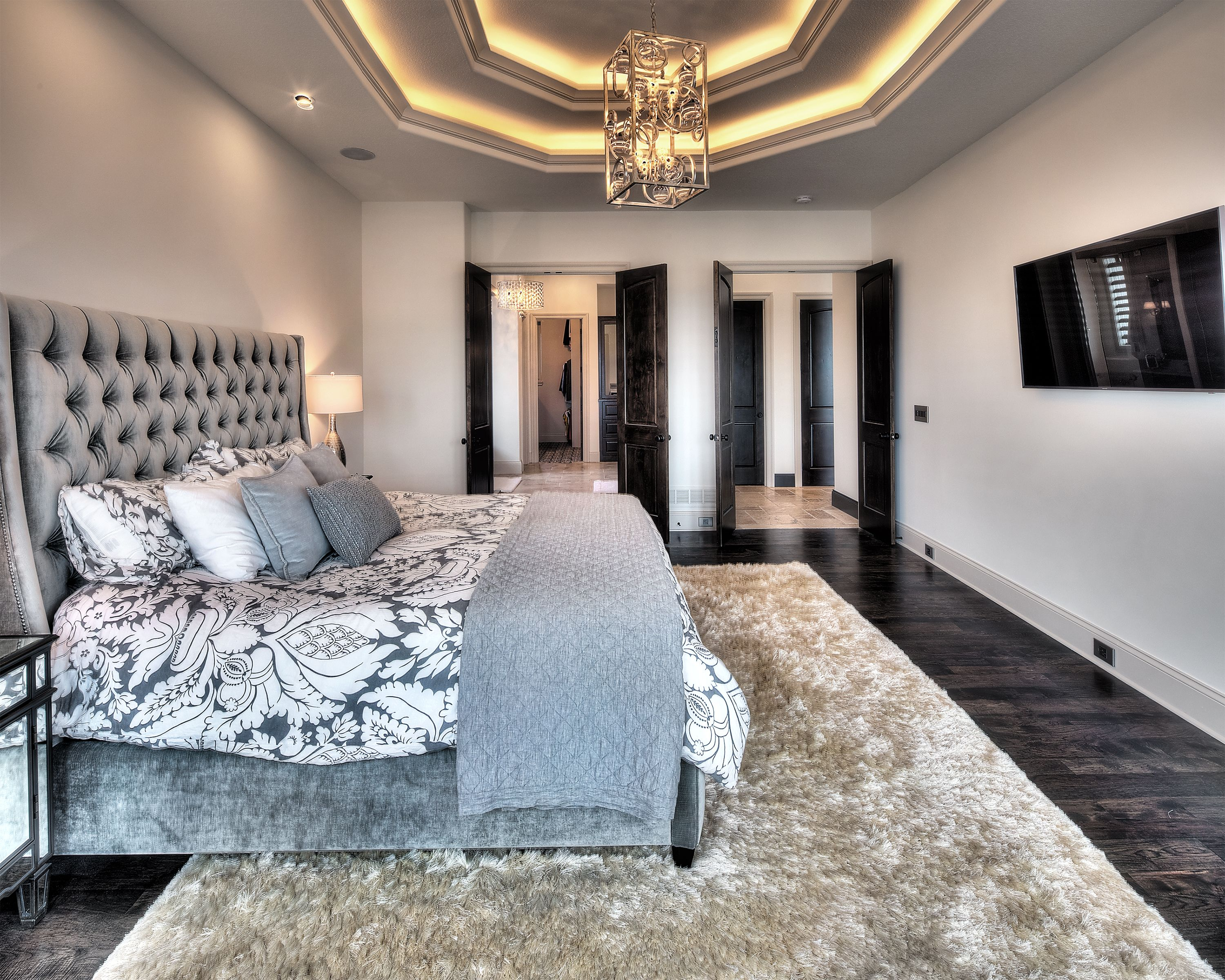 master bedroom with tray ceiling  home bedroom bedroom