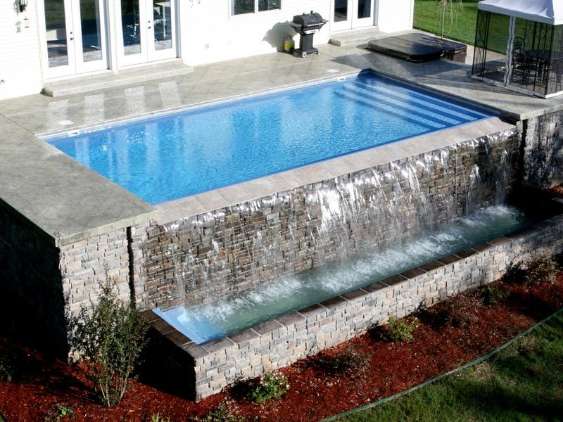 Optional Add Ons Rising Sun Pools And Spas Rectangular Pool Infinity Pool Backyard Pool Waterfall