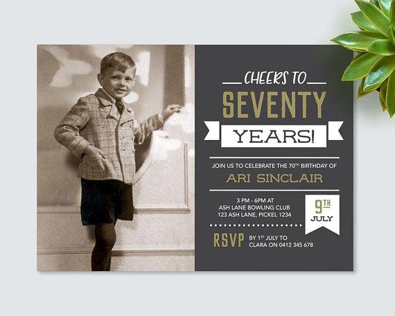 Mens 70th Birthday Invitation