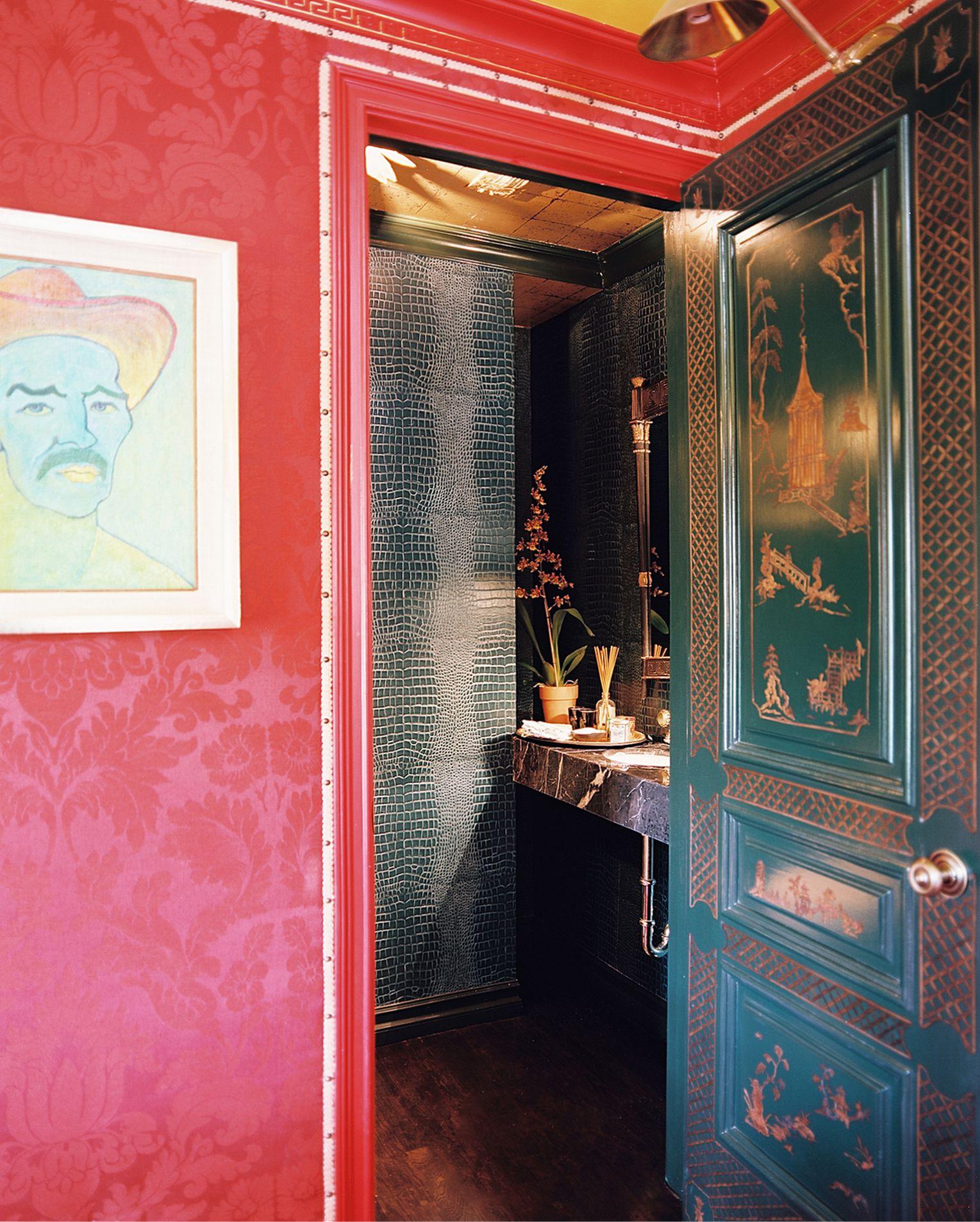 Black Powder Room Chinoisserie