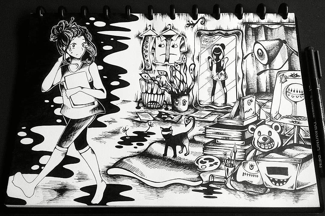 nightmare nightmareart nightmare originalart originalartwork ink art inking
