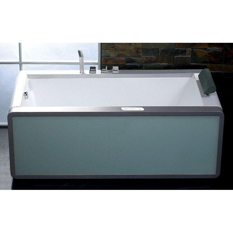 Eago Left Drain 6 Ft. Modern Whirlpool Bathtub with Colored Light Up ...