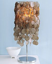 Diy lamps great way to recycle that old lamp collecting dust in faux capiz shell lampshade on craftynest mozeypictures Gallery