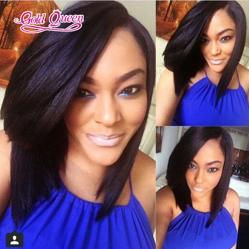 94.60$  Watch now - http://ali274.worldwells.pw/go.php?t=32696422924 - Bob Short Human Hair Wigs For Black Women Full Lace Wigs/Lace Front Wig Brazilian Virgin Hair None Lace Short Wigs With Bangs 94.60$