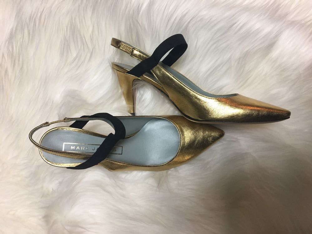 60b6ad0d9 AUTHENTIC Marc Jacobs Valery Slingback Pump Gold 38  395 New