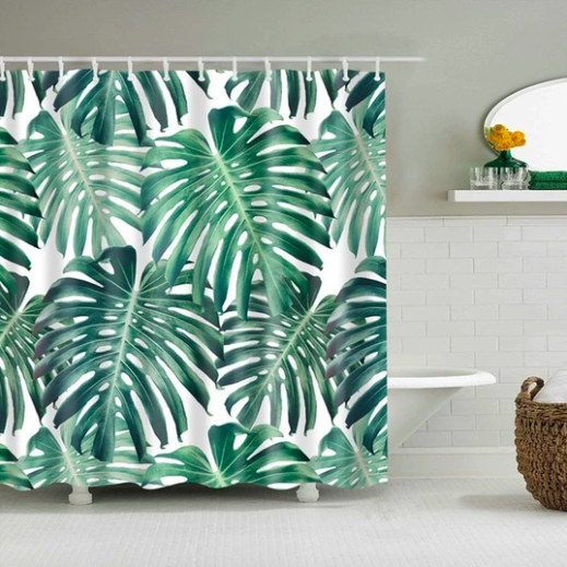 Jungle Palm Fabric Shower Curtain Tropical Shower Curtains