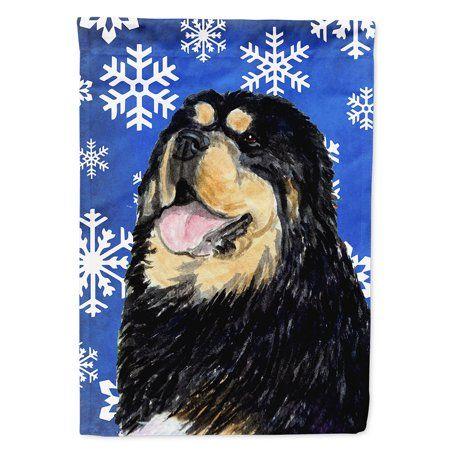 Tibetan Mastiff Winter Snowflakes Holiday Flag Canvas House Size - Walmart.com