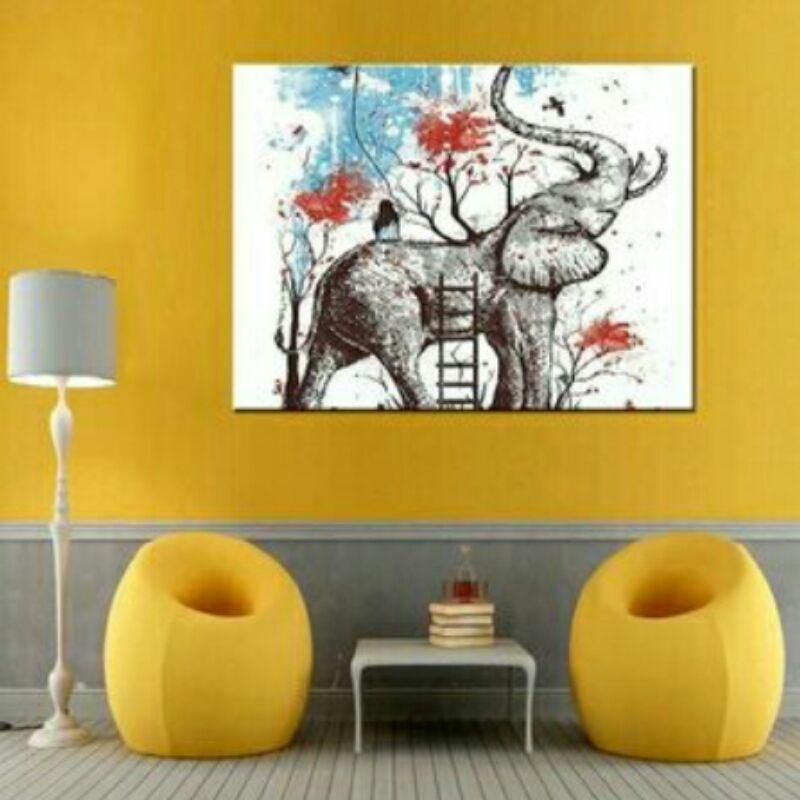 Abstract Elephant and Yong Girl Wall Art on Canvas **WORLDWIDE ...