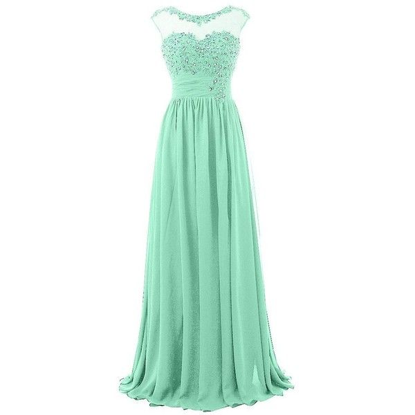 Blevla Cap Sleeve Sequined Chiffon Bridesmaid Prom Dresses Formal... (99 AUD) ❤ liked on Polyvore featuring dresses, gowns, long dress, prom dresses, green sequin dress, long chiffon dress, sequin gown and chiffon bridesmaid dresses