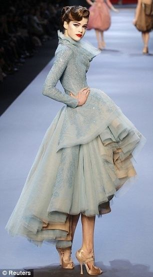 Blue Chiffon Fish Tail Hem Dress Galliano For Dior