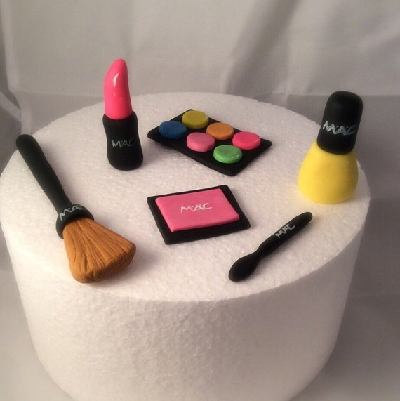 Fondant Makeup Cake Toppers Cute By Toppersbyalma On Etsy