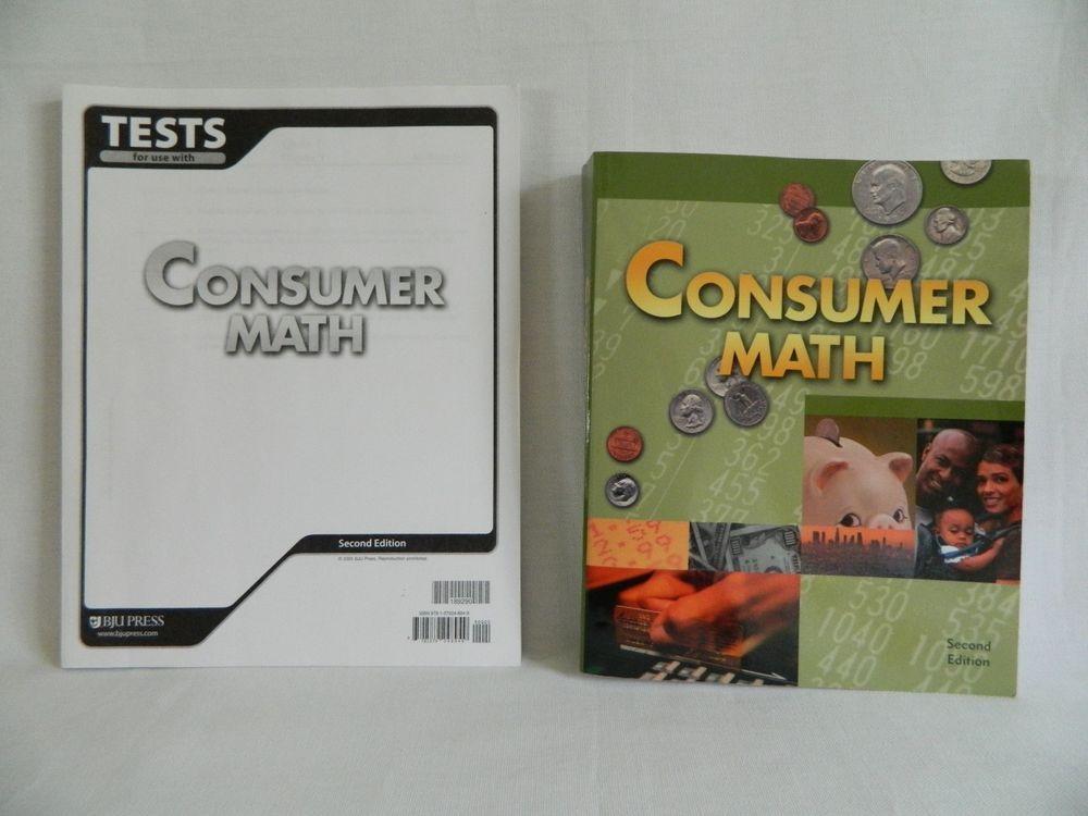 Bob Jones Consumer Math Student w. Test, BJU Homeschool / School ...