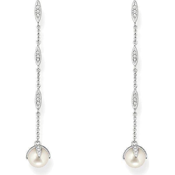 Thomas Sabo Sterling silver, white pavé zirconia and pearl drop... (280 CAD) ❤ liked on Polyvore featuring jewelry and earrings