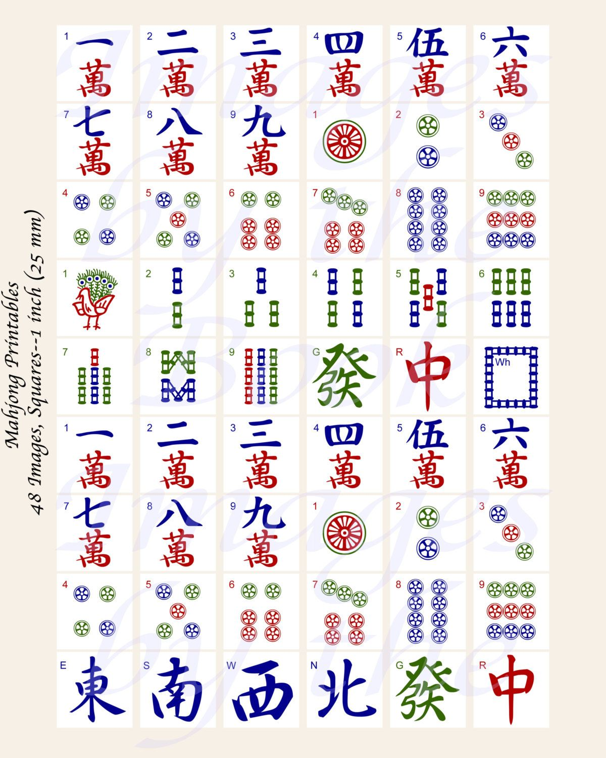 photograph relating to Mahjong Card Printable named Impression outcome for printable mahjong tiles ron chow