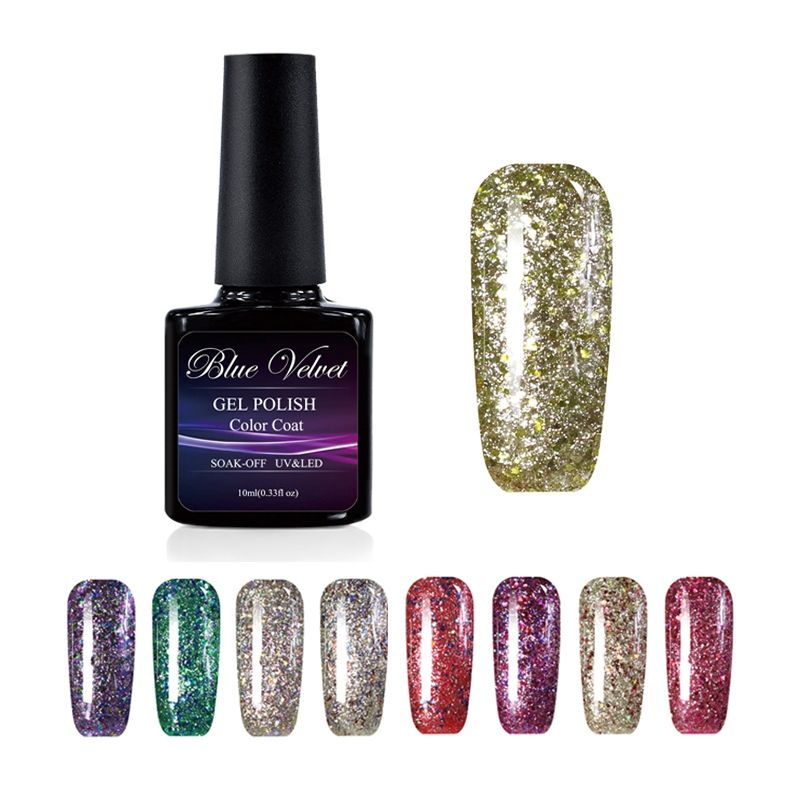 Blue Velvet Shining Glitter Star Gel Polish 10ML Soak Off Nail Gel ...