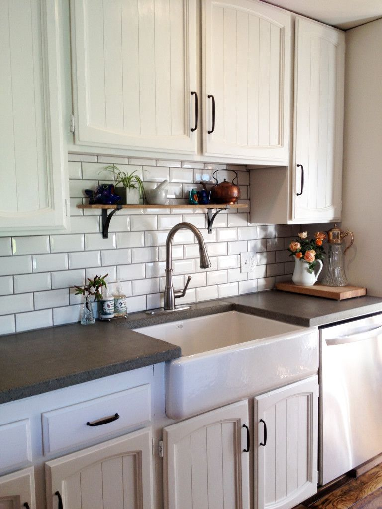 Kitchen remodel subway tile farm sink concrete for Kitchen countertop planner