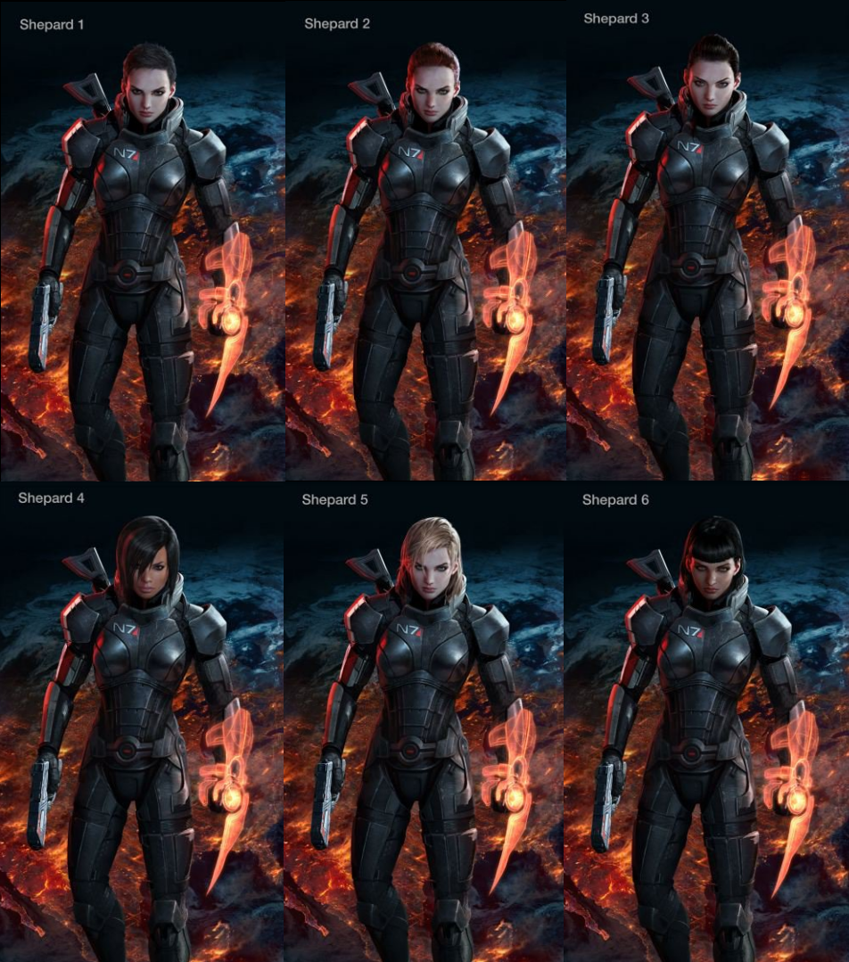 The Many Faces And Hairstyles Of Femshep Mass Effect Mass