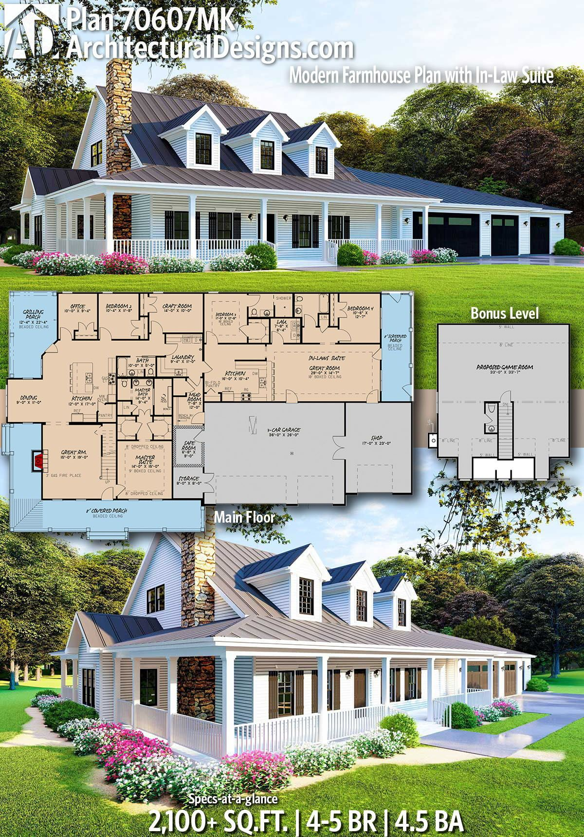 Plan 70607mk Modern Farmhouse Plan With In Law Suite Modern Farmhouse Plans Farmhouse Plans House Plans Farmhouse