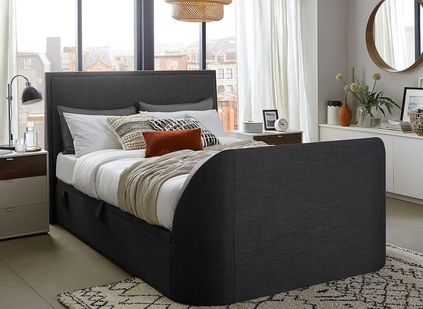 Our Alexander TV Ottoman bed frame is available in oatmeal