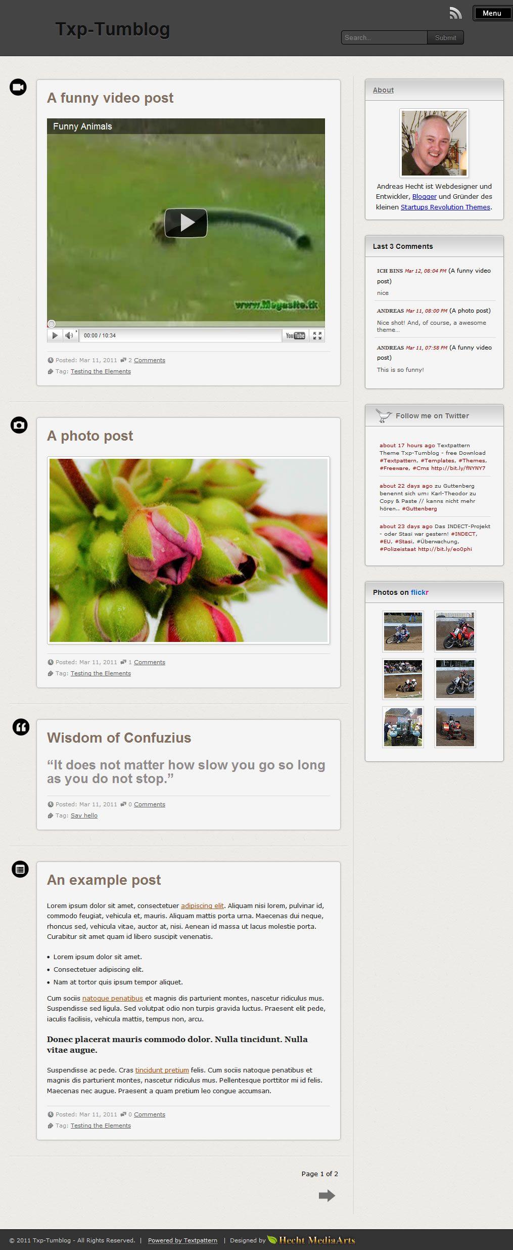 TXP-Tumblog | Textpattern Theme Designs | Pinterest