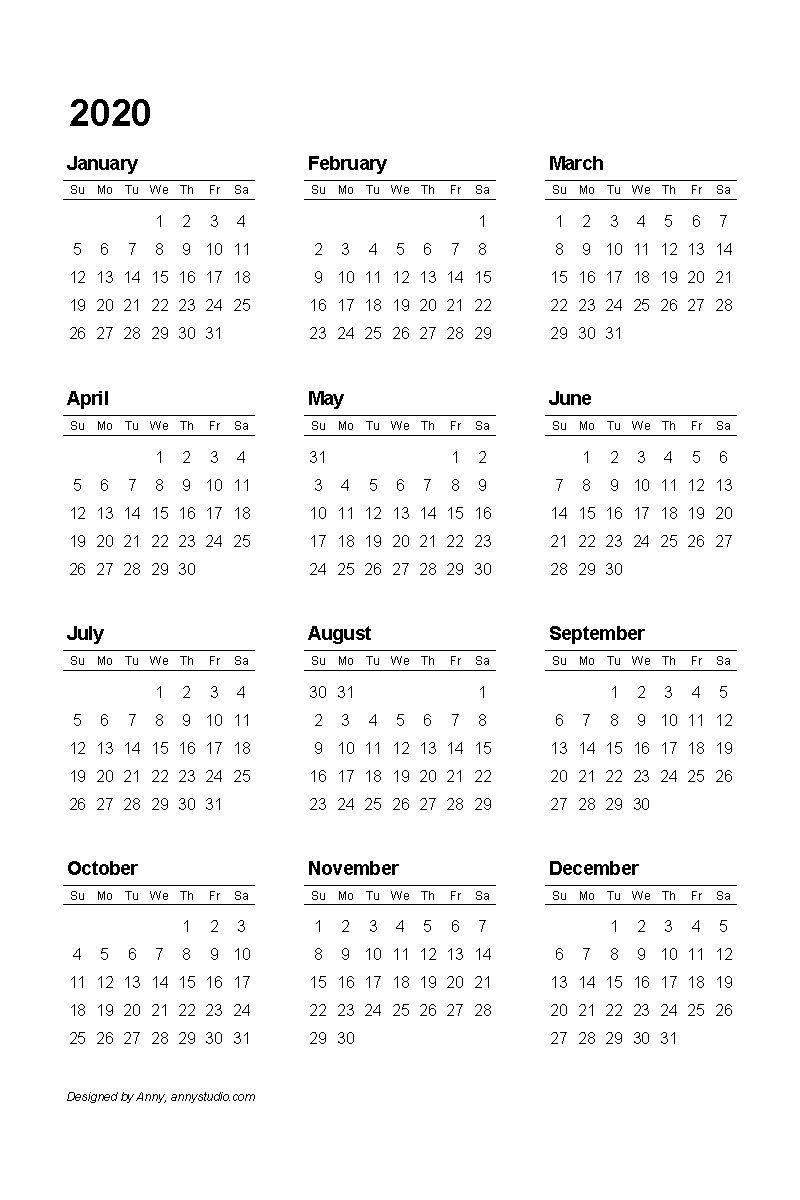 4 Four Year 2018 2019 2020 2021 Calendar Printable Template Calendar Printables Calendar Template Monthly Calendar Printable