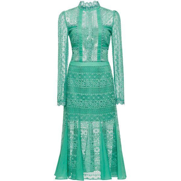 Temperley London Desdemona Lace Dress (£1,050) ❤ liked on Polyvore featuring dresses, lace sheath dress, green lace dress, lace dress, long sleeve midi dress and green midi dress
