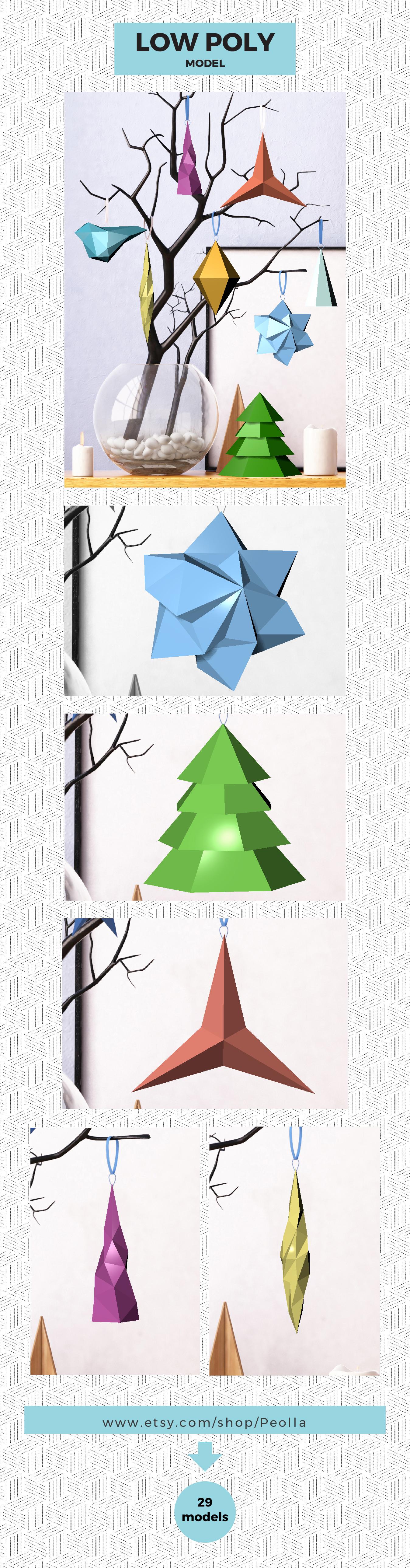 Printable Diy Template Pdf Christmas Decorations Low Poly Etsy Diy Printables Christmas Baubles Diy Template