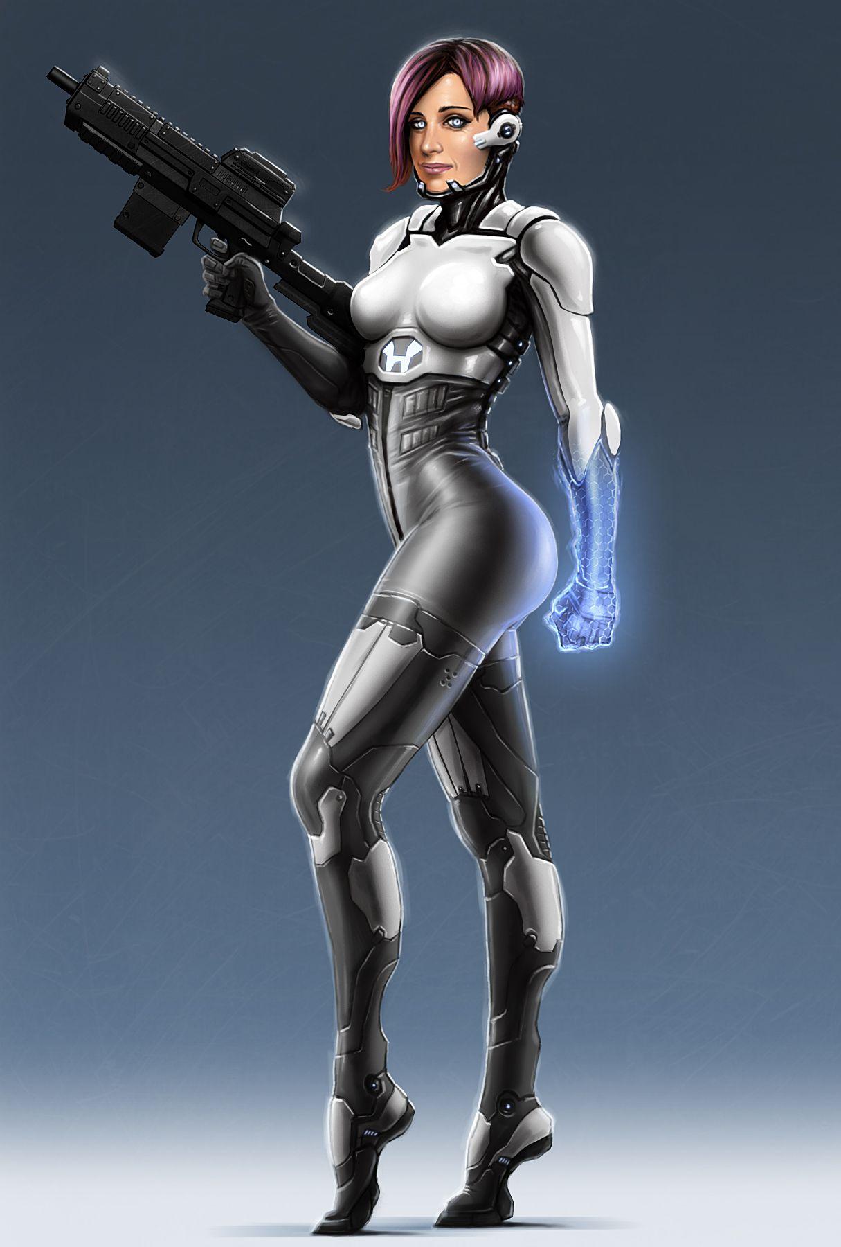 cyberpunk, future girl, futuristic look, purple hair, implants